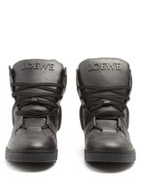 High-top leather trainers ハイトップレザースニーカー