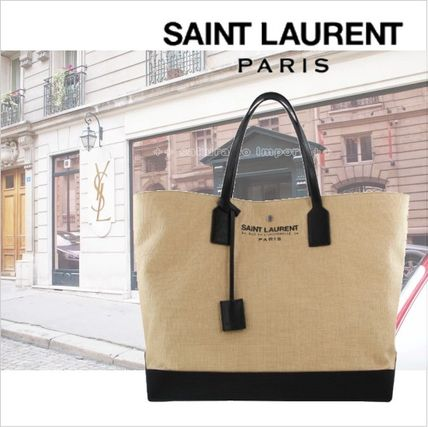 -2017 Saint Laurent Beach natural shopper tote bag.