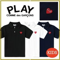 COMME des GARCONS(コムデギャルソン) キッズ用トップス ハートロゴ★COMME des GARCONS PLAY★キッズ半袖ポロシャツ