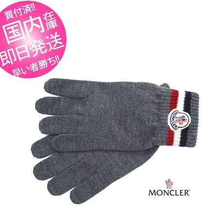 MONCLER made in Italy Grenoble knit gloves grey