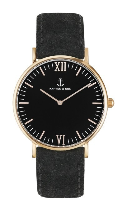 即日発送!KAPTEN & SON☆ Leather Black-Rose Gold 36mm