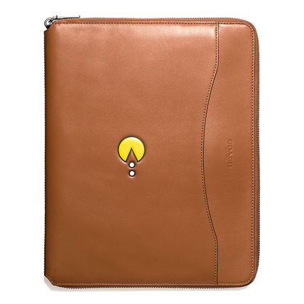 Tablet support COACH leather tech Pouch Pacman