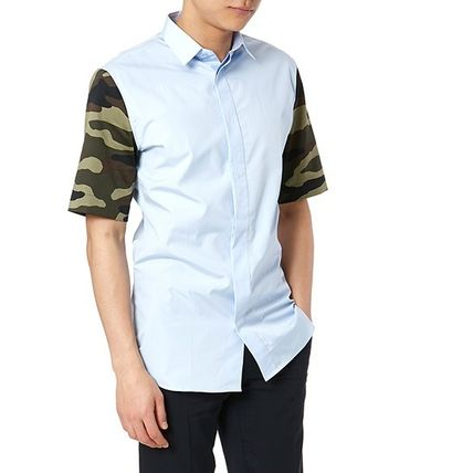 DIOR HOMME camouflage sleeve shirt _sky Friday BLUE
