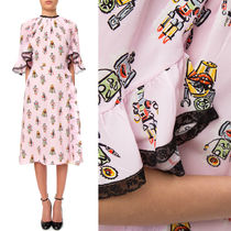 PR361 'ROBOT' PRINTED SILK DRESS WITH RUFFLED SLEEVE