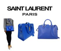 【SAINT LAURENT】大人気YSLベルト SMALL CABAS MONOGRAM★BLUE