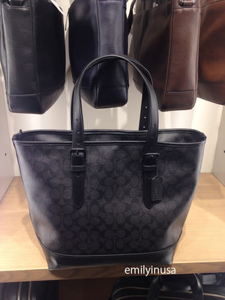 COACH men's HENRY TOTE IN SIGNATURE F57566 * BLACK