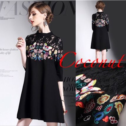 * * lace dress Butterfly pattern embroidered dress 7-sleeve