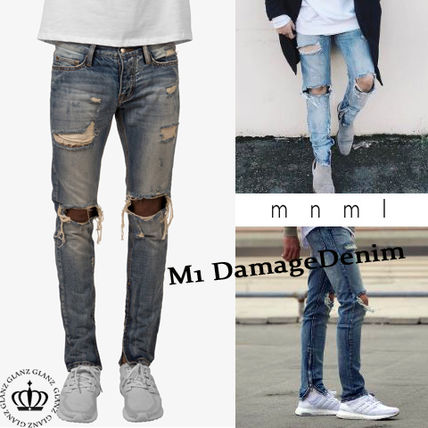 Japan still MNML damage slim denim pants M1 blue