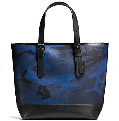 popular blue camouflage COACH HENRY TOTE IN INDIGO CAMO