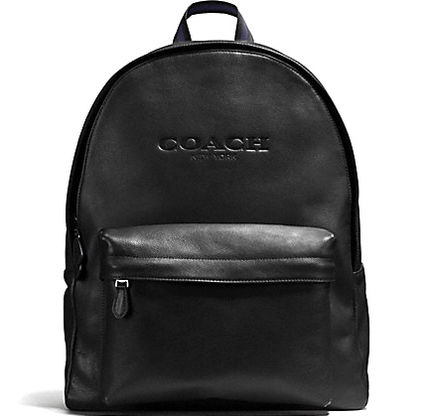 Leather COACH CHARLES campus backpack