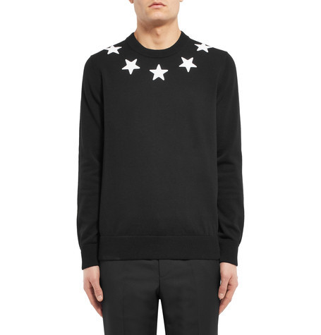 Star-Appliqued Cotton Sweater コットンセーター