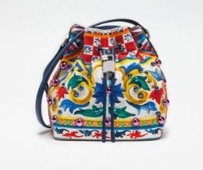 (D&G) DOLCE ドローストリング バッグ プリントキャンバス