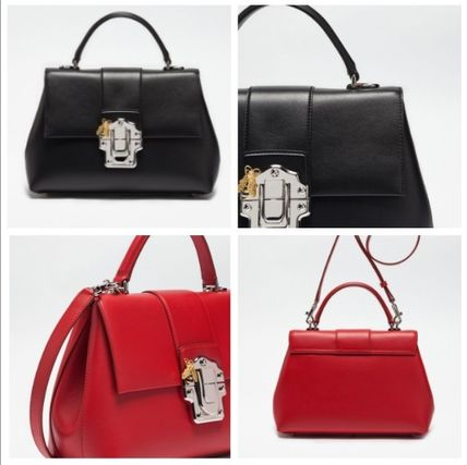 (D&G) LUCIA バッグ ミディアムサイズ レザー/Black/Red