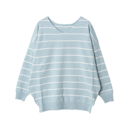 Spring stipes oversizecasimi attached knit 6 color