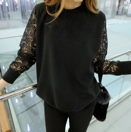 Sheer-lace embroidered Sleeve Tops watermark all