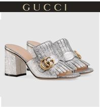 17SSセール★GUCCI MARMONT FRINGED SUEDE MULES 国内発・関税込