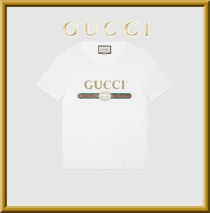 GUCCI Tシャツ・カットソー 関税/送料込★GUCCI プリントウォッシュヴィンテージ加工Tシャツ