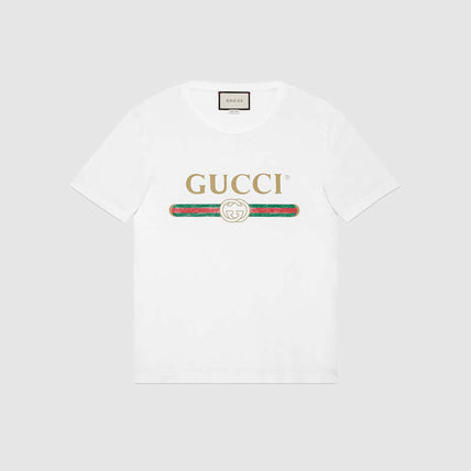 GUCCI Tシャツ・カットソー 関税/送料込★GUCCI プリントウォッシュヴィンテージ加工Tシャツ(2)