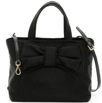 PR437 BOW EMBELLISHED NYLON TOTE