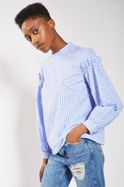 日本未入荷☆TOPSHOP☆Gingham Mutton Sleeve Blouse(blue)