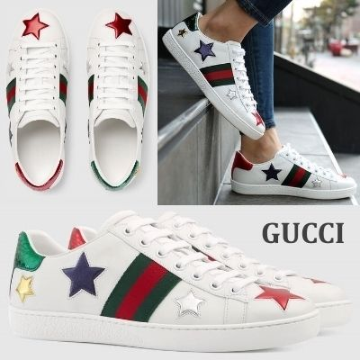 GUCCI Ace star embroidered leather inspired sneakers