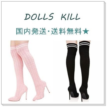 DOLLS KILL GIMME ENERGY knee high boots black / pink