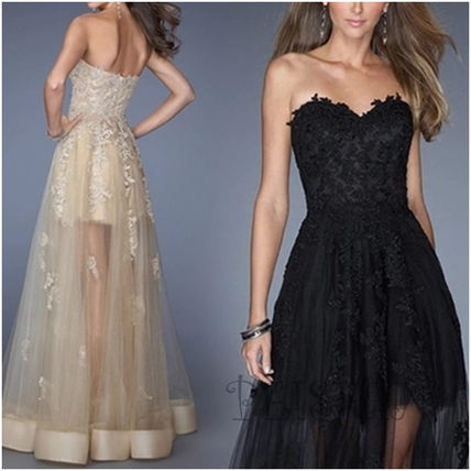 Long lace dresses sexy shoulder wedding reception party
