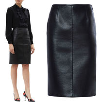 PR461 BONDING LEATHER PENCIL SKIRT