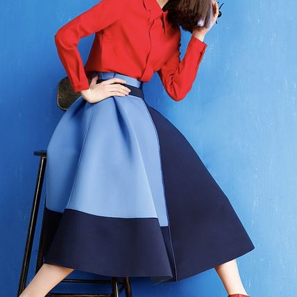 MIDI-length flared skirt 4 colors dress up outfit