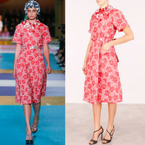 MM185 LOOK47 FLORAL CLOQUET MIDI DRESS WITH APPLICATION