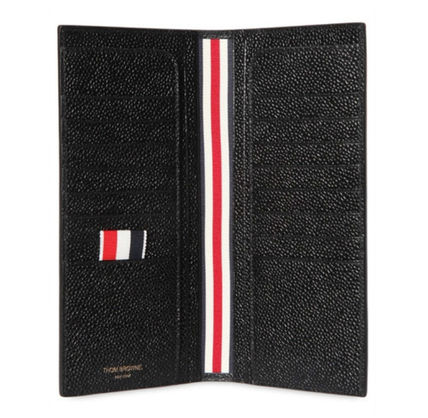 THOM BROWNE pebbled leather long wallet