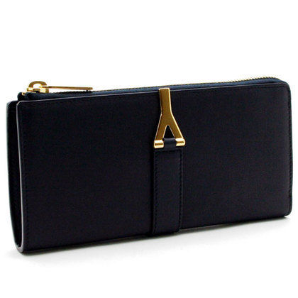 Saint Laurent Y line L-shaped zip long wallet Navy