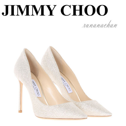 Jimmy Choo Romy glitter pumps 100 mm Platinum ice