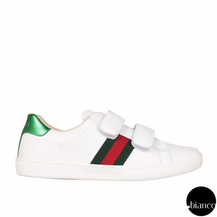 Adult-sized Web leather sneaker GUCCI CHILDREN