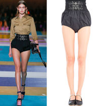MM196 LOOK3 HIGH WAIST SATIN SHORTS WITH GATHERED ELASTIC