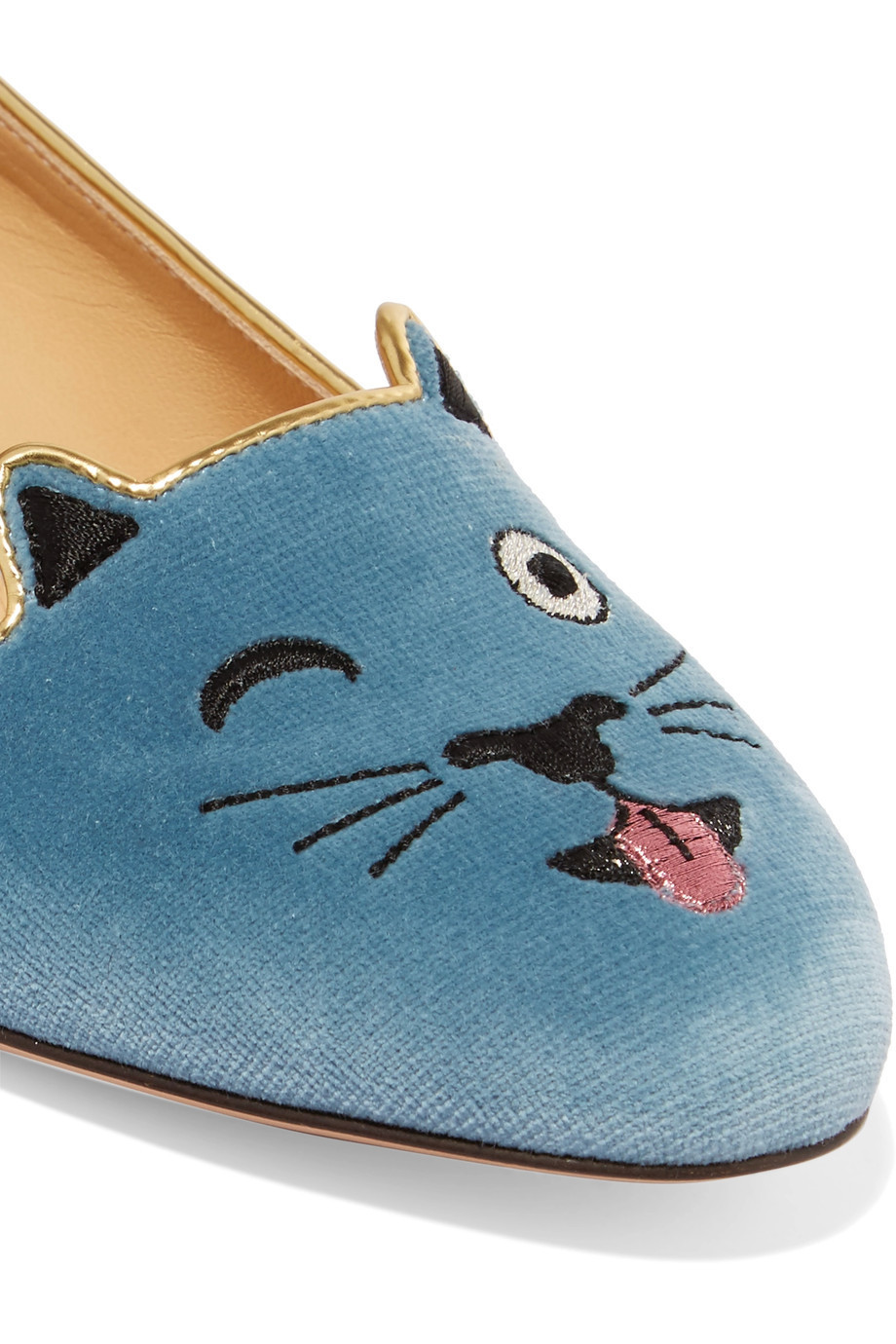 ☆海外発送 Charlotte Olympia Cheeky Kitty velvet slippers