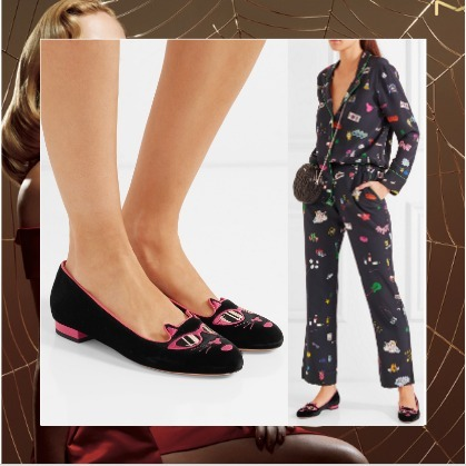 ☆海外発送 Charlotte Olympia + Barbie Kitty velvet slippers