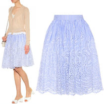 MM198 STRIPED COTTON FLARE SKIRT WITH BRODERIE ANGLAISE