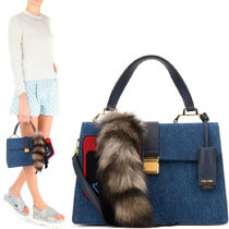 MM201 DENIM 'MADRAS' HANDBAG WITH CHARM