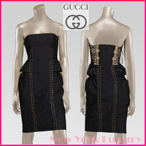 GUCCI★グッチ★素敵!BLACK STRAPLESS LACE UP & TIE DRESS