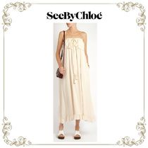 【17SS】★SEE BY Chloe★Self-tie ruffle-trimmed silk dress