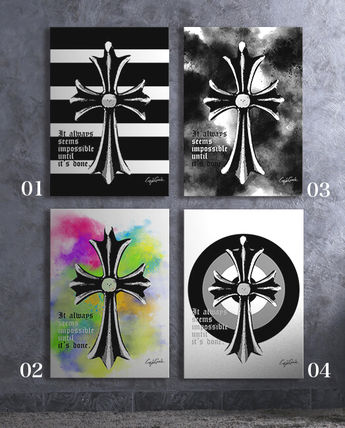 A4 poster set chrome cross motif