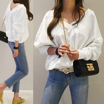 NANING9 V neck casual tops sweaters