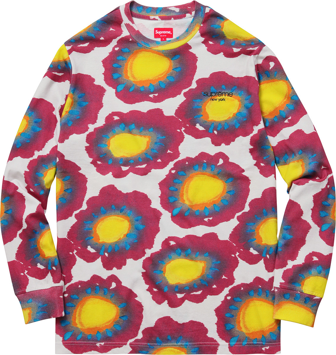 SUPREME17SS★Painted Flowers L/S Tee