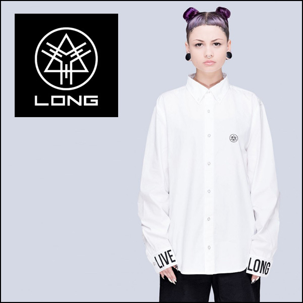 LONG CLOTHING  LIVE LONG BUTTONED SHIRTS (WHT) 長袖シャツ