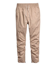 SS16 H&M TWILL JOGGER TAN PANTS ZIP FOG タン 28-36 送料無料