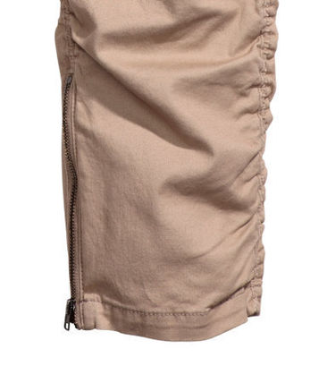 H&M パンツ SS16 H&M TWILL JOGGER TAN PANTS ZIP FOG タン 28-36 送料無料(2)