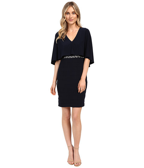 ★人気★Wide Band Matte Jersey Capelet Sheath  Sheath Dress