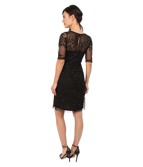 ★人気★3/4 Sleeve Fully Beaded Cocktail Dress Sheath Dress