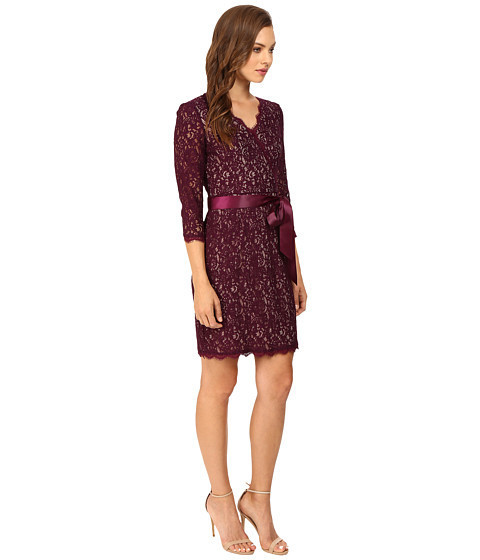 ★人気★Long Sleeve Wrap Front Lace Cocktail D Sheath Dress
